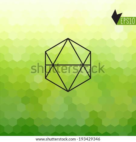 Vector hexagons pattern with badge. Hexagon. Geometric. Fresh green background. - stock vector