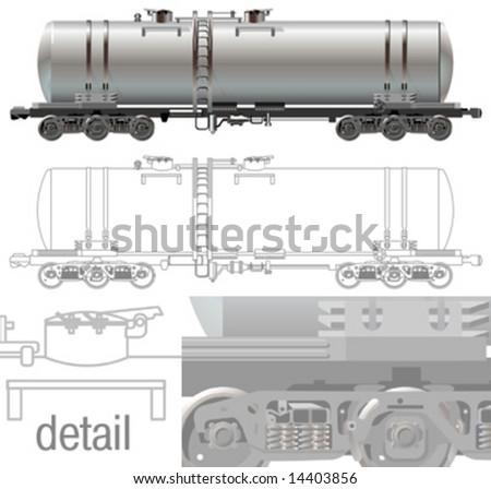 Vector hi-detail rail oil/gasoline tanker car [for branding]. - stock vector