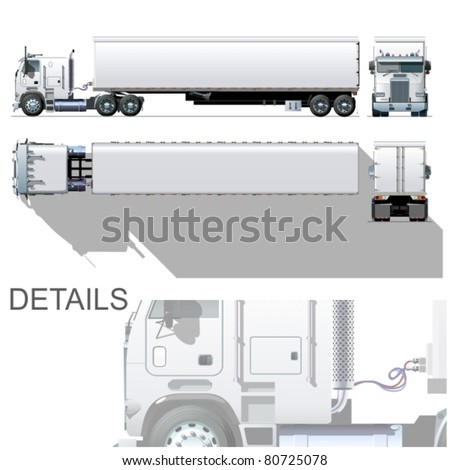 Vector hi-detailed commercial semi-truck - stock vector