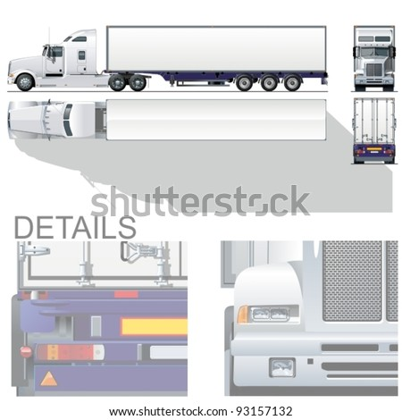 Semi Truck Side View Vector Semi Truck Stock Vector