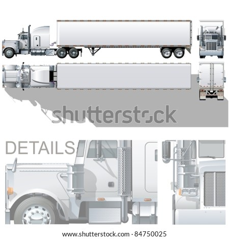 Vector hi-detailed commercial semi-truck. Available eps-10 vector format separated by groups with transparency option for easy edit - stock vector