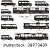 Vector hi-detailed public transport silhouettes. More vector transportation illustrations see in my portfolio - stock