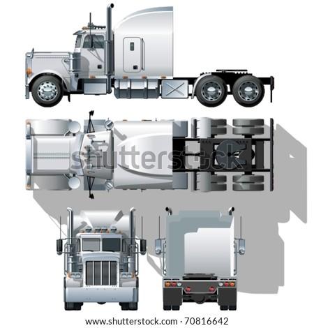 Vector hi-detailed semi-truck - stock vector