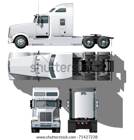 Vector hi-detailed semi-truck - stock vector