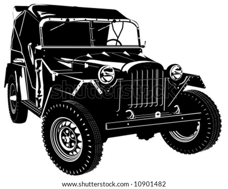Vector hi-detailed silhouette army jeep isolated on white background. - stock vector