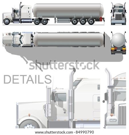 Vector hi-detailed tanker semi-rtuck - stock vector