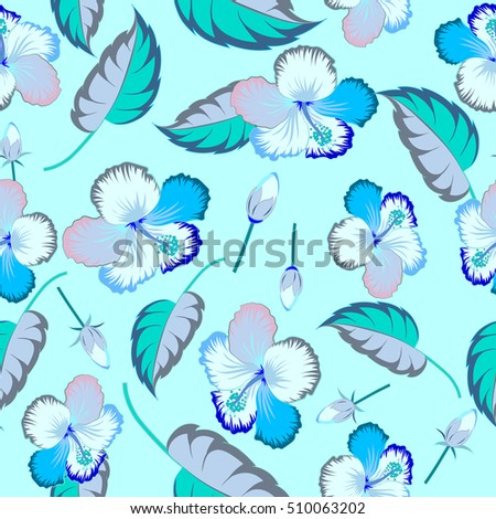 Vector hibiscus floral pattern. Floral seamless pattern hibiscus flowers, watercolor hand drawing style. Design in blue colors for invitation, wedding or greeting cards, textile, prints or fabric.