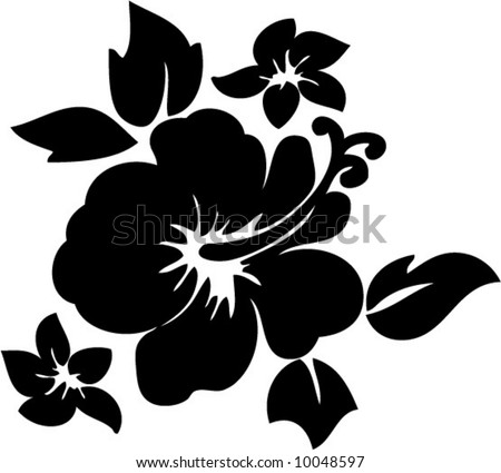 vector hibiscus flower illustration - stock vector