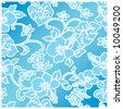 vector hibiscus ocean pattern design - stock vector