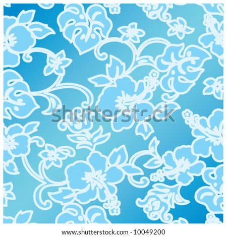 vector hibiscus ocean pattern design - stock vector