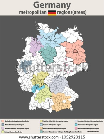 vector high detailed map of germany metropolitan regions areas