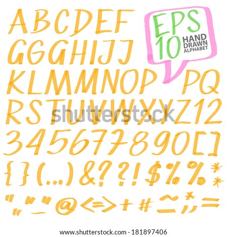 vector highlighter elements VOL 3 - handwritten alphabet, color can be changed by one click - stock vector