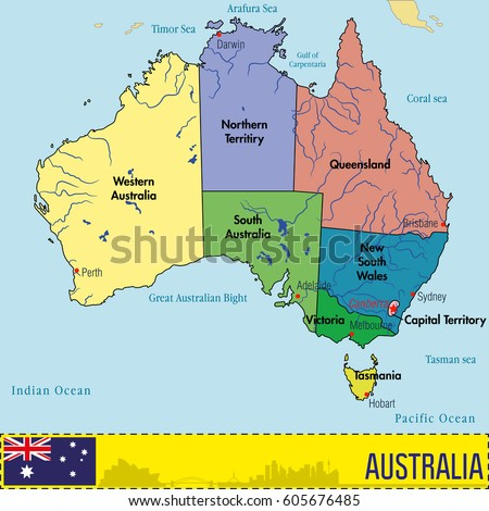 Vector Highly Detailed Political Map Australia Stock Vector - Political map of australia