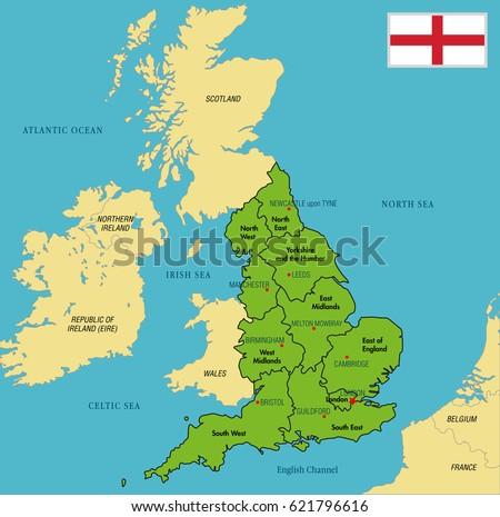 United Kingdom Irelandphysical Map Stock Vector - English world political map