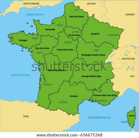 Vector Highly Detailed Political Map France Stock Vector 636671368