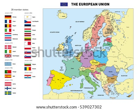 Detailed political world map capitals rivers vectores en stock vector highly detailed political map of the european union with flags and capitals all elements gumiabroncs