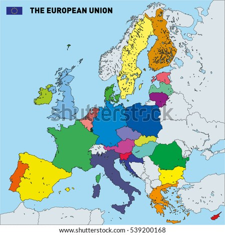 Vector highly detailed political map european stock photo photo vector highly detailed political map of the european union with flags and capitals all elements gumiabroncs Images