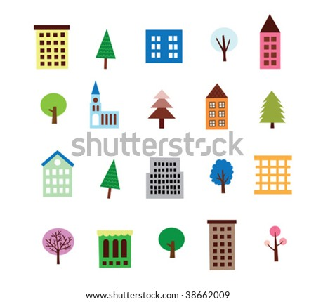 Vector Highrise Building And Tree Set