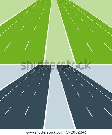 vector highway on a green and gray-blue background