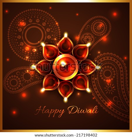 Vector hindu festival background of diwali - stock vector