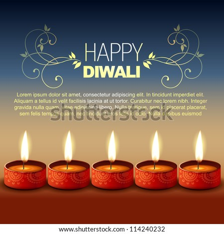 vector hindu festival happy diwali background - stock vector