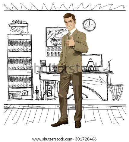 Vector hipster business man shows well done  - stock vector