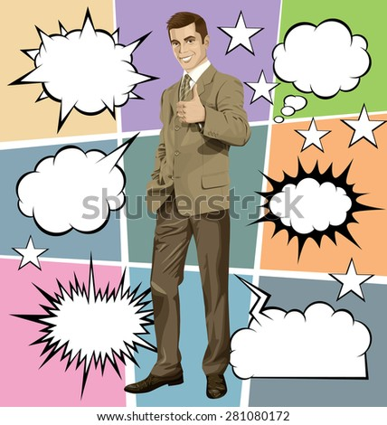 Vector hipster business man shows well done, with speech and thought bubbles - stock vector