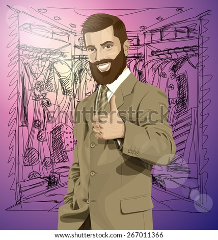 Vector hipster business man with beard shows well done on shopping - stock vector