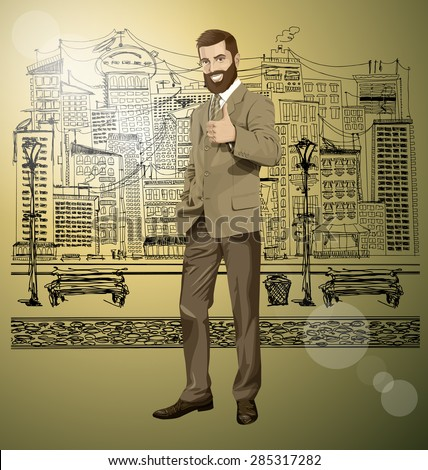 Vector hipster business man with beard shows well done on the sketch street - stock vector