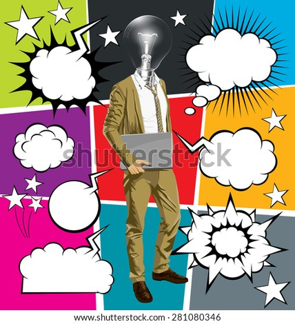 Vector hipster business man with laptop in his hands, with speech and thought bubbles - stock vector