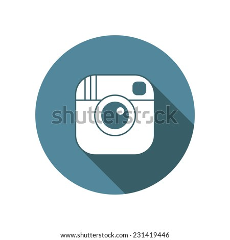 Vector hipster camera icon with long shadow effect in flat style - stock vector