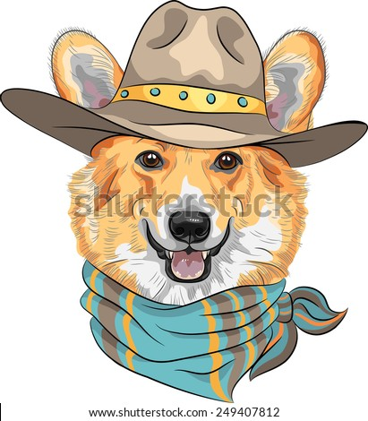 Vector Hipster dog Pembroke Welsh corgi breed  in hat and neckerchief - stock vector