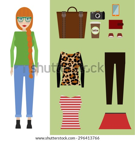 vector hipster girl set. Woman clothing set - stock vector