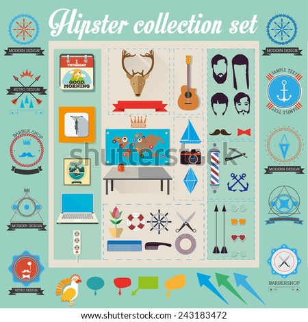 vector hipster icons collection set - stock vector
