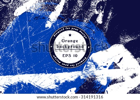 Vector hipster Ocean/Sea grunge texture. Template Shabby background for your design. Cracked Texture. Distress Texture. Dirt Texture. Overlay Texture. Place for text - stock vector