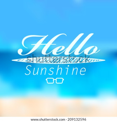 Vector hipster, retro, abstract, colorful, blurred, defocused summer background with text - stock vector