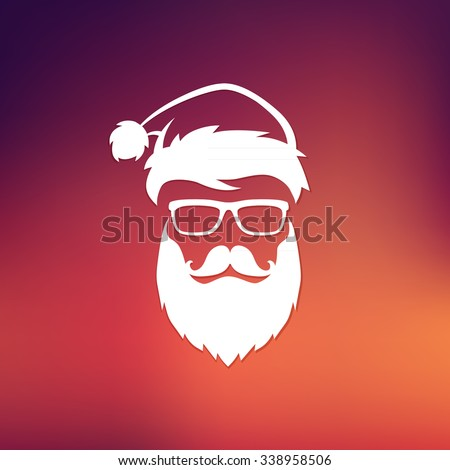 Vector hipster Santa Claus fashion silhouette with cool beard and glasses - stock vector