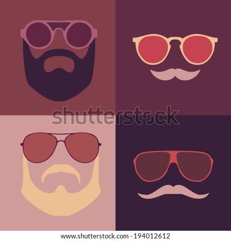 vector hipster set (glasses, mustache, beards) vector illustration - stock vector