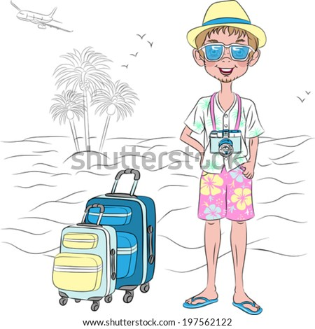 Vector hipster traveler guy with suitcases on the sea beach  - stock vector