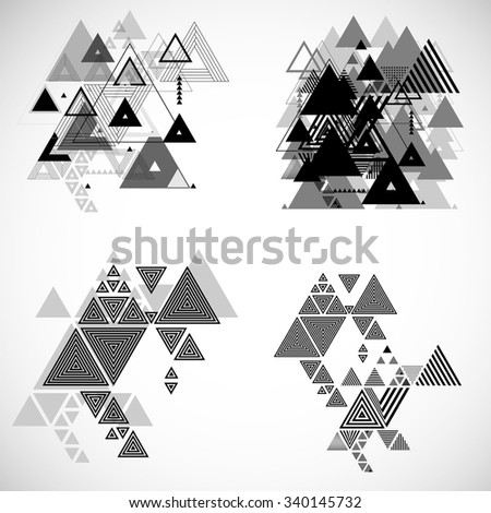 Vector Hipster Triangle Set . Triangle Pattern Background . Abstract Triangle Geometrical Background . Modern Geometry Triangle Design Template . - stock vector