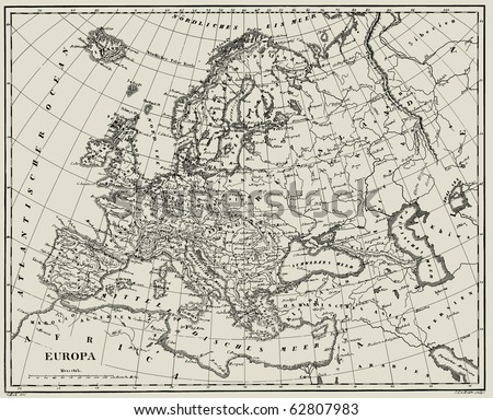 Vector Historical map of Europe from atlas published in 1851. Other vector maps in my portfolio. - stock vector