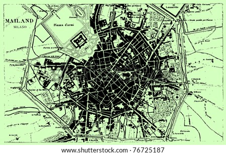 Vector Historical map of Milan, Italy, from atlas published in 1851 (The iconographic encyclopedia of science, literature and art). Other vector maps in my portfolio. - stock vector