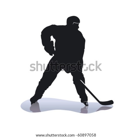 Vector hockey player on ice - stock vector