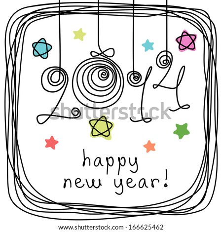 Vector holiday background with balls, stars, frame of doodles. Festive illustration in childish hand drawn sketch style with lettering - 2014 happy new year! Decorative invitation, greeting card  - stock vector