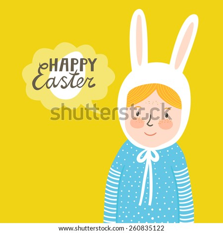 """Vector holiday background with cute girl, egg and text """"Happy Easter"""". Bright card with smiling baby in hat with rabbit's ears. Childish background. - stock vector"""