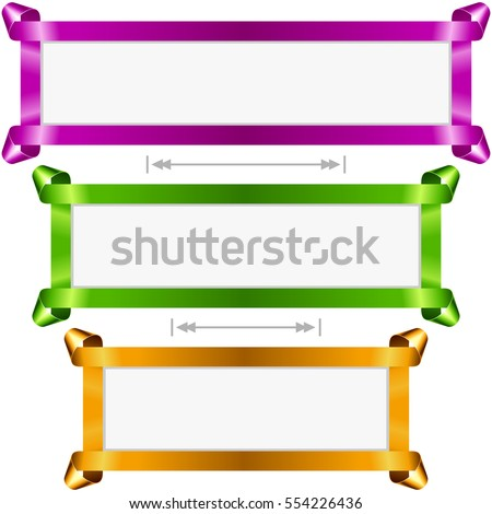 Vector holiday banners set. Purple, green and golden streamer frame