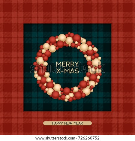 Vector holiday christmas postcard greeting words stock vector vector holiday christmas postcard with greeting words tartan pattern and wreath design for christmas m4hsunfo