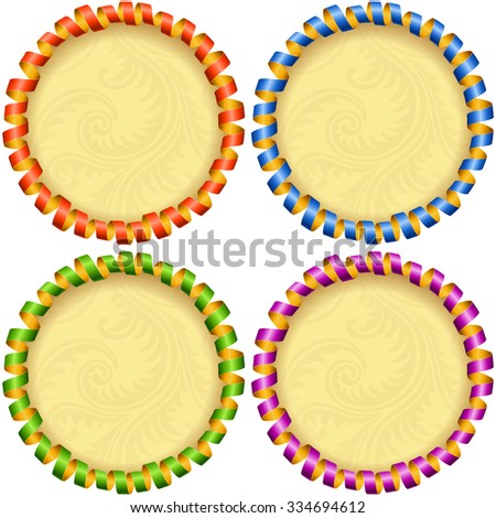 Vector holiday circle frame set. Red, blue, green and purple streamer - stock vector