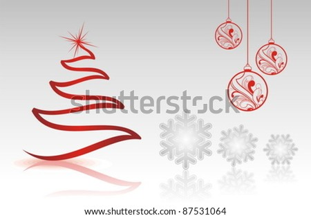 Vector Holiday collection for a Christmas theme single shapes. - stock vector