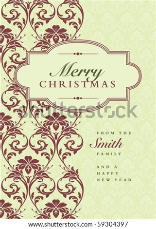 Vector holiday frame with sample text and pattern. Perfect as invitation or announcement. Pattern is included as seamless swatch. All pieces are separate. Easy to change colors and edit. - stock vector